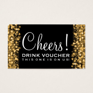 Elegant Drink Voucher Party Sparkles Gold Business Card