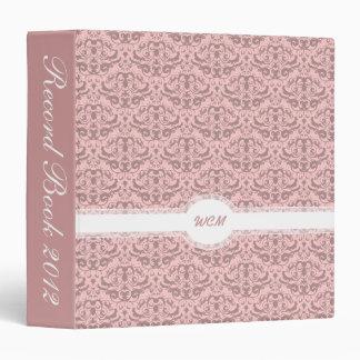 Elegant Dusky Rose Pink Damask Feminine Binder