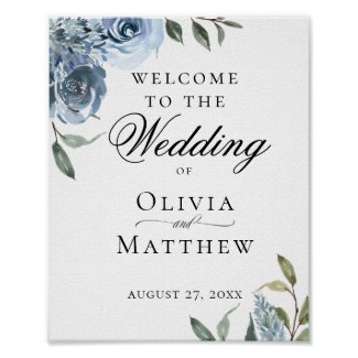 Elegant Dusty Blue Botanical Wedding Welcome Poster