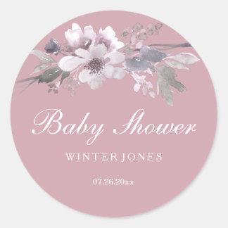 Elegant Dusty Pink Floral Baby Shower Sticker