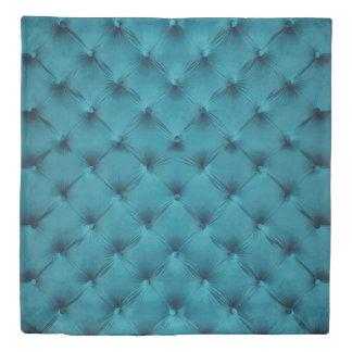 Elegant Duvet Cover with teal blue capitone