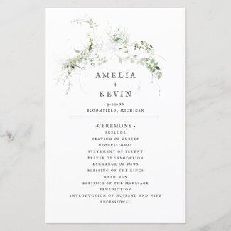 Elegant Earthy Greenery Watercolor Wedding Program