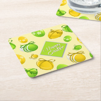 Elegant Easter Eggs Pattern Square Paper Coaster