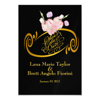 Elegant Ebony Floral Bouquet Gold Save-The-Date 3.5x5 Paper Invitation Card