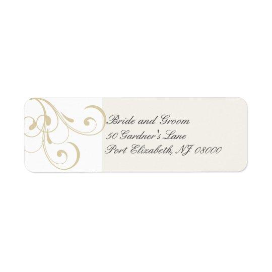 Elegant Ecru Floral Swirl Return Address Labels