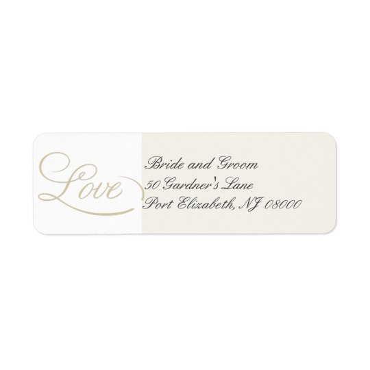 Elegant Ecru LOVE Return Address Labels