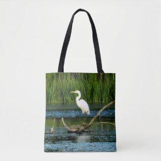 Elegant Egret Printed Tote Bag