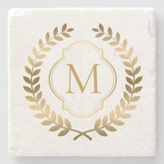 Elegant Elegant Gold Wreath Monogram Stone Coaster