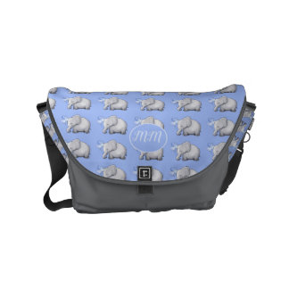 Elegant Elephants Pattern Monogram Baby Diaper Messenger Bag