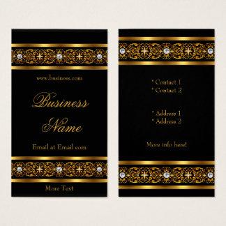 Elegant Elite Gold Trim Black Diamond Jewel 2 Business Card