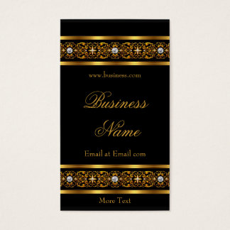 Elegant Elite Gold Trim Black Diamond Jewel 2 Business Card
