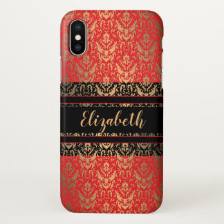 Elegant Elizabeth Red, Black and Gold Damask iPhone X Case