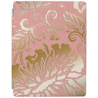Elegant Embossed Style Rose Gold Floral iPad Cover