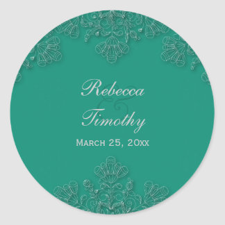 Elegant emerald floral swirls wedding stickers