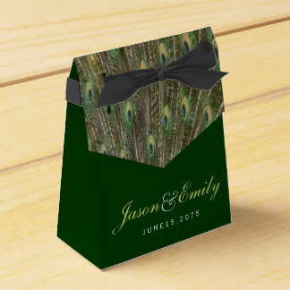 Elegant Emerald Green and Gold Peacock Wedding Wedding Favor Boxes