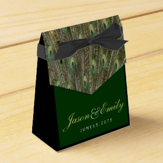 Elegant Emerald Green and Gold Peacock Wedding Favor Boxes