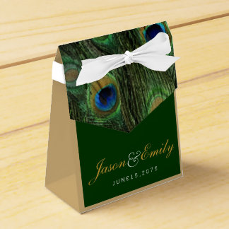Elegant Emerald Green and Gold Peacock Wedding Wedding Favor Boxes