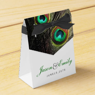 Elegant Emerald Green and Gold Peacock Wedding Party Favor Box