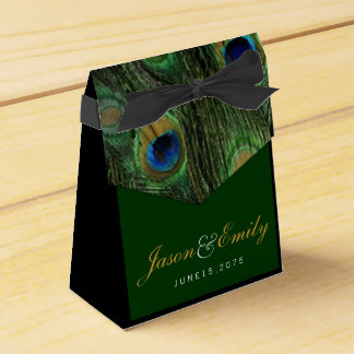 Elegant Emerald Green and Gold Peacock Wedding Party Favor Boxes