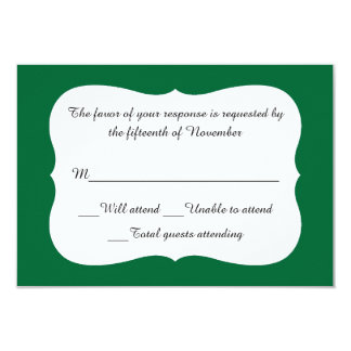 "Elegant Emerald Green and White Response Card 3.5"" X 5"" Invitation Card"
