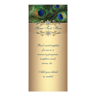 Elegant Emerald Green Gold Peacock Rack Card