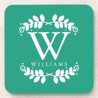 Elegant Emerald Green Monogram Drink Coaster