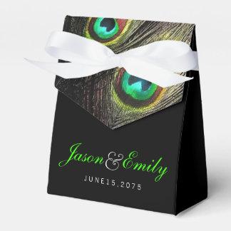 Elegant Emerald Green Peacock Wedding Party Favor Box