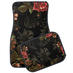 Elegant Engraved Black Floral Car Mat