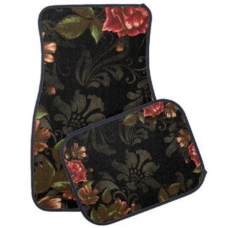 Elegant Engraved Black Floral Floor Mat