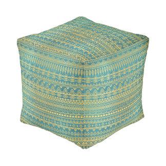 Elegant Ethnic Golden Pattern | Cube Pouf