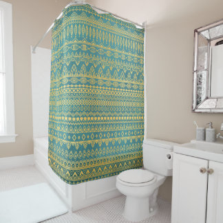 Elegant Ethnic Golden Pattern | Shower Curtain