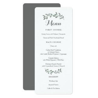 "Elegant Eucalyptus Wedding Suite Menu Card 4"" X 9.25"" Invitation Card"