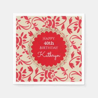 Elegant European Floral Birthday Paper Napkin