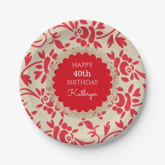 Elegant European Floral Birthday Paper Plate