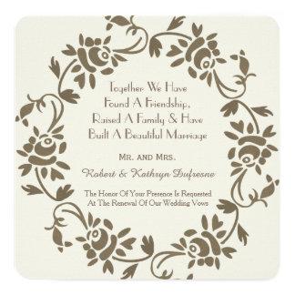 Elegant European Floral Wedding Vow Renewal Invite