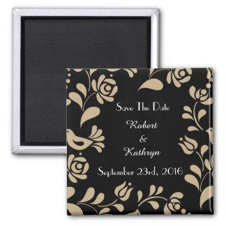 "Elegant European Folk Art ""Save the Date"" Square Magnet"
