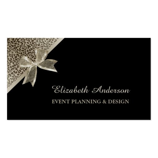 Elegant Event Planner Platinum Leopard Chic Bow Business Cards
