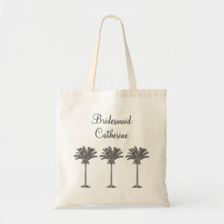Elegant Exotic Palm Tree Custom Wedding Bridesmaid Tote Bag