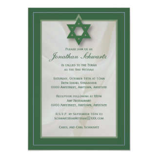 Elegant Fabric Bar Mitzvah Invitation in Green