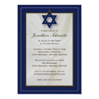 Elegant Fabric Bar Mitzvah Invitation in Navy