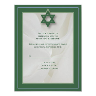 Elegant Fabric Bar Mitzvah Reply Card in Green