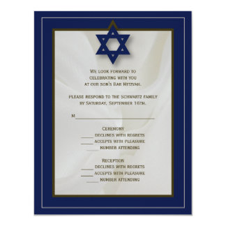 Elegant Fabric Bar Mitzvah Reply Card in Navy