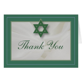 Elegant Fabric Bar Mitzvah Thank You Card Green