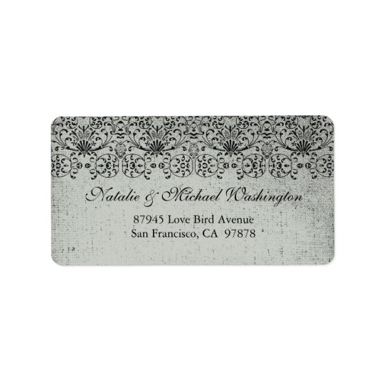 Elegant faded black silver damask address label
