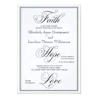 Elegant Faith Hope Love Script Wedding Invitation