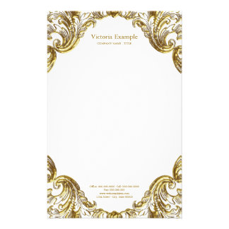 Elegant Fancy Gold Swirl Stationery