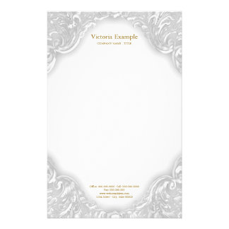 Elegant Fancy White Gold Swirl Stationery
