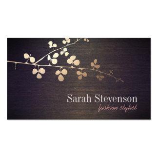 Elegant Fashion Stylist Gold Branch Wood Business Card