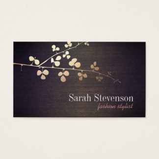 Elegant Fashion Stylist Gold Branch Wood Business Card