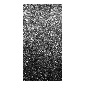 Elegant Faux Black Glitter Custom Photo Card